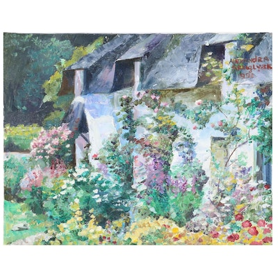 """Alexandra Zecevic Oil Painting """"Summer Cottage"""", 1998"""