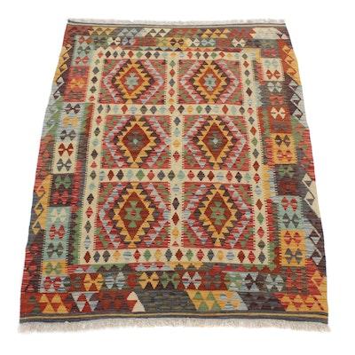 4'10 x 6'7 Handwoven Turkish Caucasian Kilim Rug, 2010s