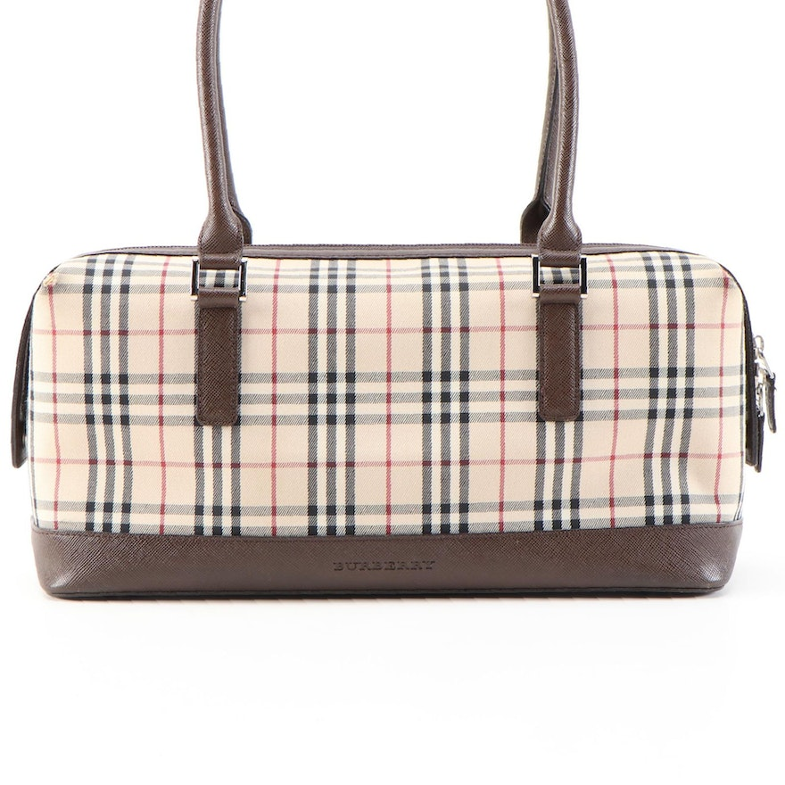"Burberry ""Nova Check"" Canvas and Brown Saffiano Leather Satchel"