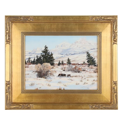 "Carol Swinney Oil Painting ""Winter in the Du Noir Valley"", 2000"