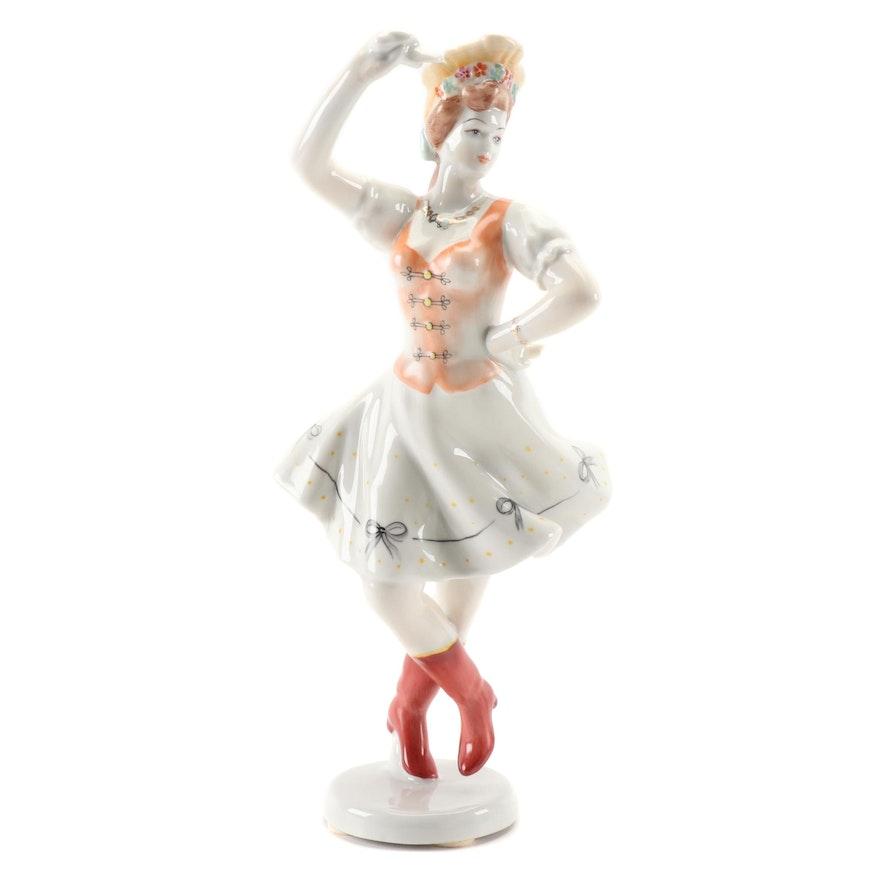 Hollóháza Hand-Painted Porcelain Folk Dancer Figurine, Late 20th Century