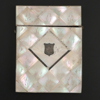 Victorian Mother-of-Pearl Mosaic Calling Card Case, Late 19th Century