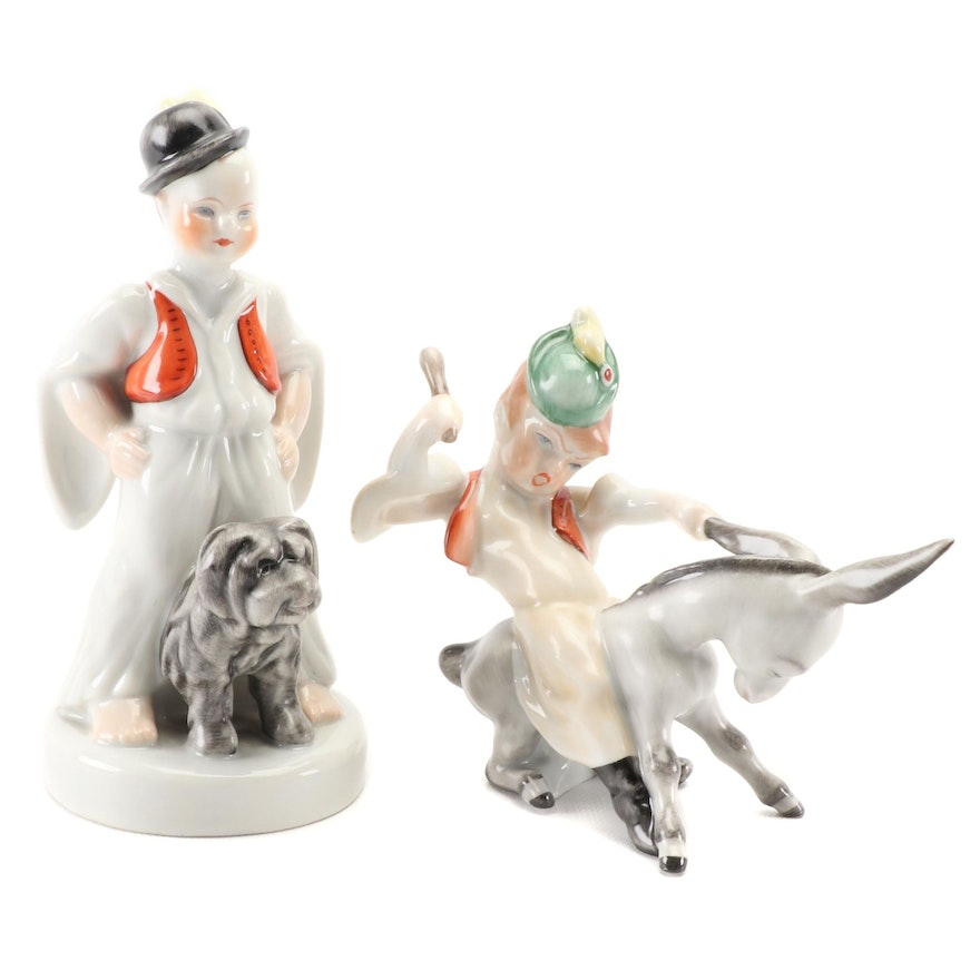 """Herend """"Peasant Boy Riding Donkey"""" and """"Boy With Puli Dog"""" Porcelain Figurines"""