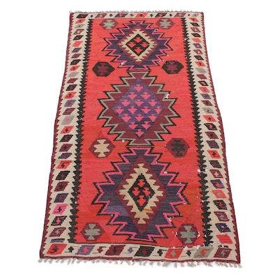 4'4 x 8'5 Handwoven Persian Kurdish Kilim Long Rug, 1950s