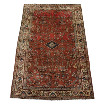 4'2 x 6'10 Hand-Knotted Persian Sarouk Rug, 1920s