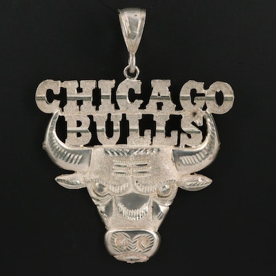 Chicago Bull Sterling Silver Pendant