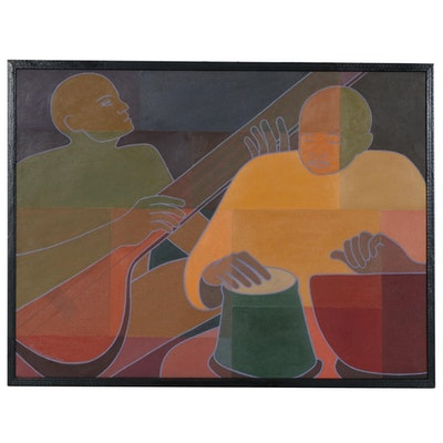 "Farnoosh Lanjani Oil Painting ""Indian Musicians"", 2007"