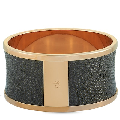 Calvin Klein Spellbound Rose Gold PVD-Plated Stainless Steel and Black Imitation Python Bangle Bracelet