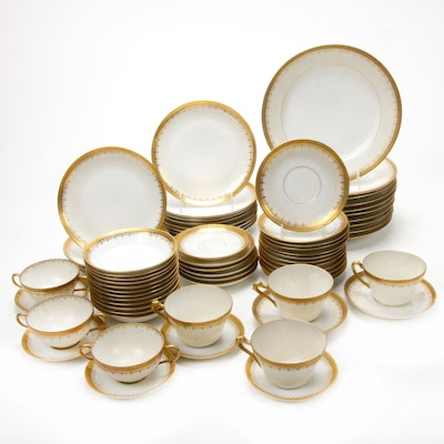 "Coronet and Other Limoges ""Old Abbey"" Gilt Porcelain Dinnerware, Early 20th C."