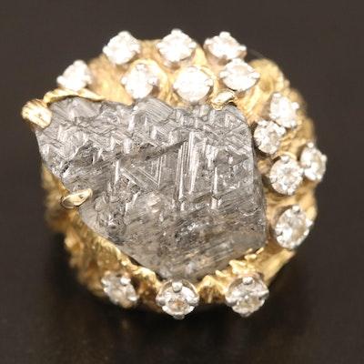 Biomorphic 18K 1.50 CTW Diamond Ring Featuring Rough Diamond Center