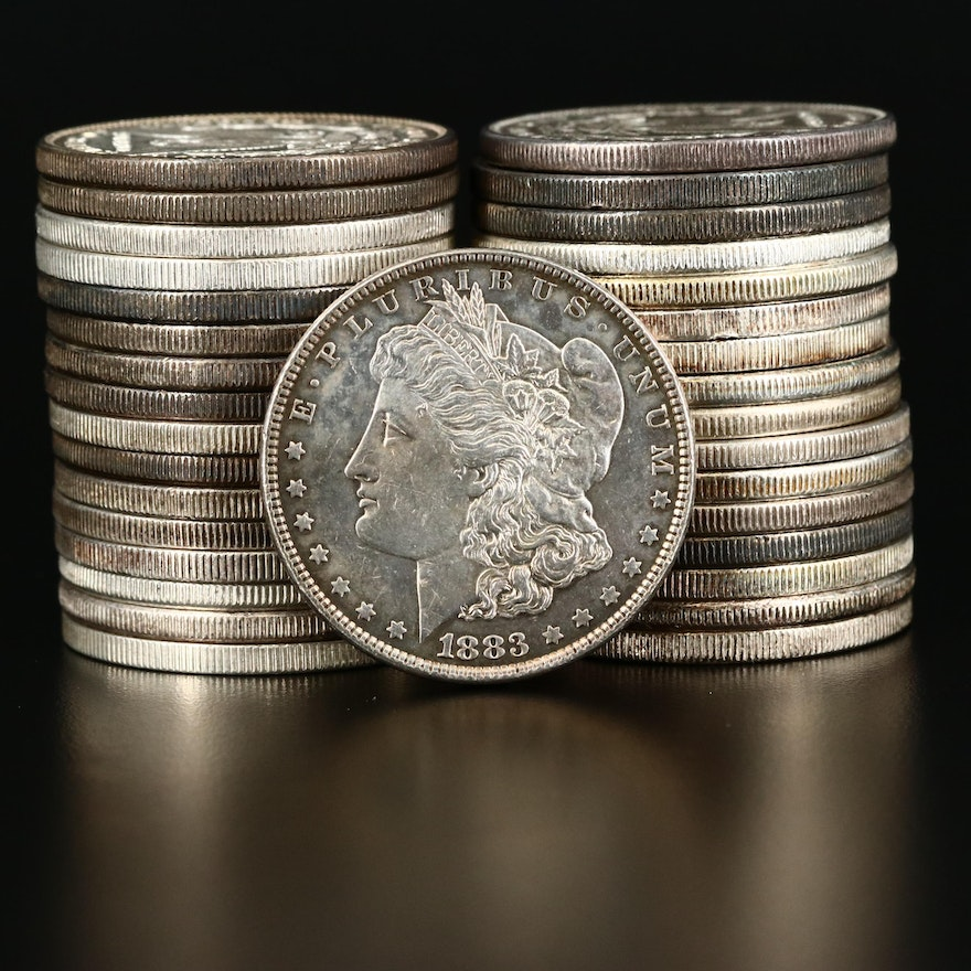 Thirty-Three High Grade Pre-1904 Morgan Silver Dollars