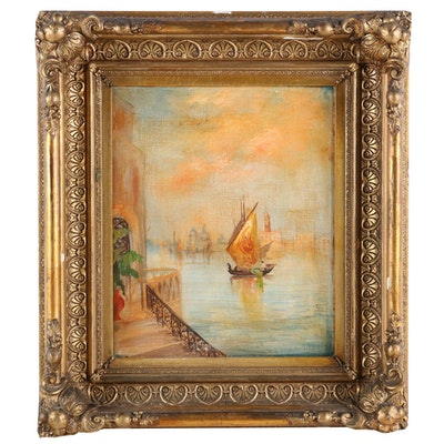 Mediterranean Channel with Sailboat Oil Painting, Early to Mid 20th Century