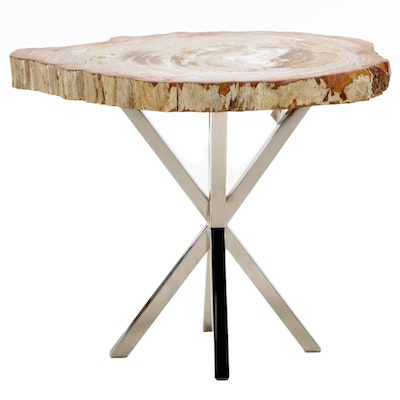 Palecek Modern Style Petrified Wood and Chrome End Table