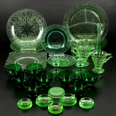 Hazel-Atlas and Other Green Vaseline Glass and Depression Glass Tableware