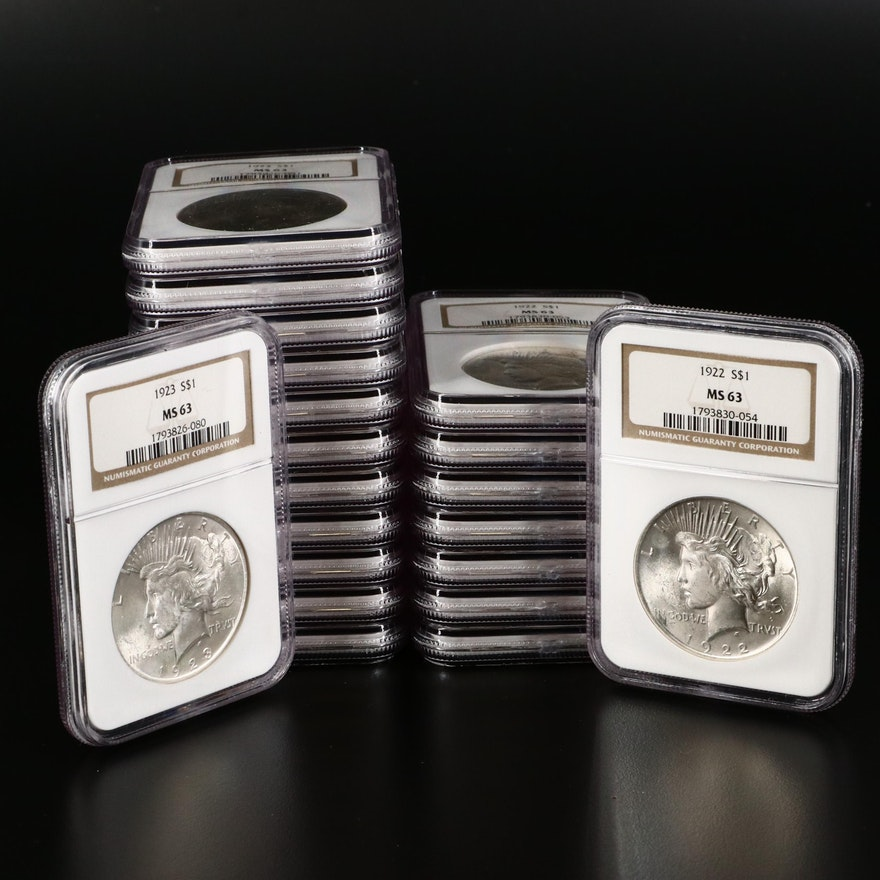 Twenty NGC Graded MS63 1922 and 1923 Peace Silver Dollars