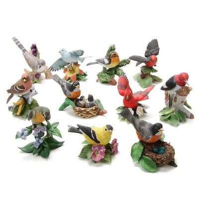 "Lenox ""Yellow-Billed Cuckoo"" and Other Porcelain Bird Figurines"