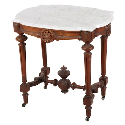 Victorian Walnut Marble Top Side Table, Late 19th Century