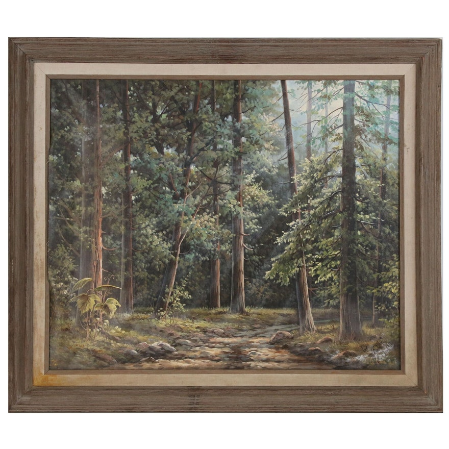 Forest Landscape Oil Painting, Late 20th Century