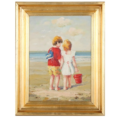 Children Holding Hands on the Beach Oil Painting, Late 20th Century