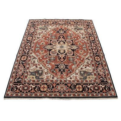 8' x 10'2 Hand-Knotted Indo-Persian Heriz Serapi Room-Size Rug, 2010s