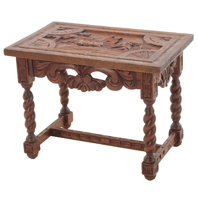 Mexican Influenced Hand-Carved Walnut Coffee Table, Mid-20th Century