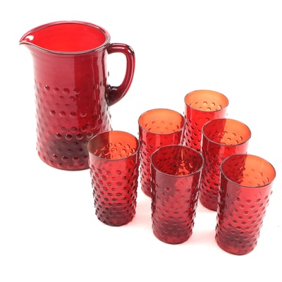 Anchor Hocking Ruby Hobnail Glass Pitcher and Tumblers, Mid to Late 20th C.