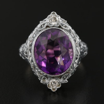 14K Gold Amethyst and Diamond Ring