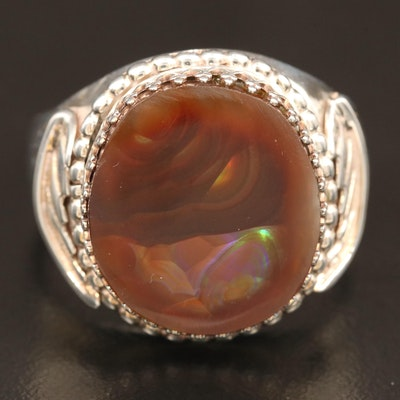 Artist Signed Sterling Fire Agate Ring