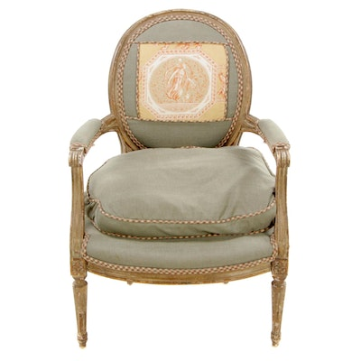 Louis XVI Fauteil Painted Chair with Toile Panel, Late 20th Century
