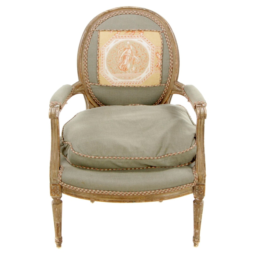 Louis XVI Style Fauteil Painted Chair with Toile Panel, Late 20th Century
