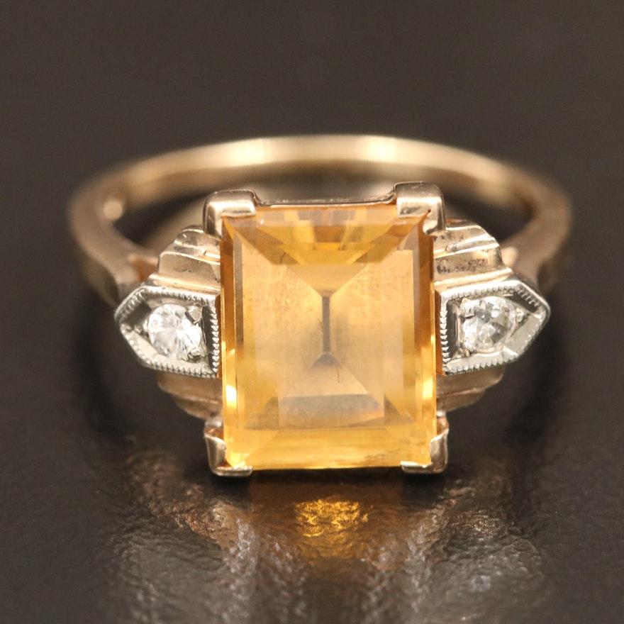 Vintage 14K Topaz and Diamond Ring