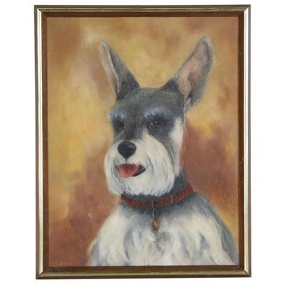 "Margaret Billet Dog Portrait Oil Painting ""Tiki"", Late 20th Century"
