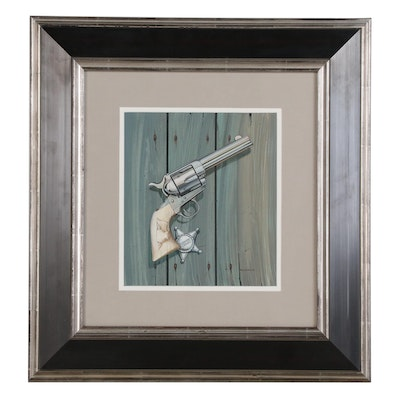 "Gale Hendrickson Oil Painting "".45 Colt Single Action"", Late 20th Century"