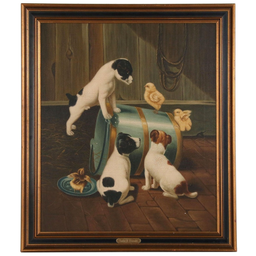 """Oil Copy Painting """"Sadie & Friends"""", Late 20th Century"""