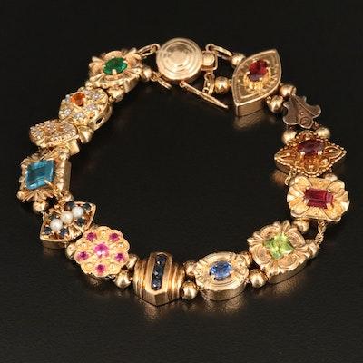 Vintage 14K and 10K Gold Multi-Gemstone Slide Charm Bracelet
