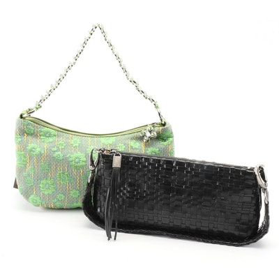 Elliott Lucca Woven Black Leather Clutch and Green Floral Fabric Shoulder Bag