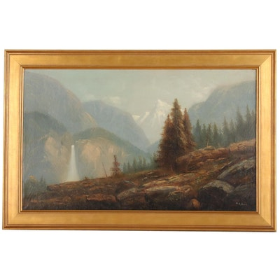 H.A. Davis Hudson River Style Landscape Oil Painting, Late 19th Century