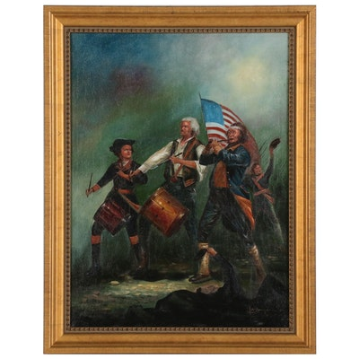 "Oil Painting after Archibald Willard ""The Spirit of '76"", Late 20th Century"