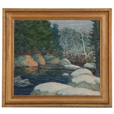 "Walter H. Klar Landscape ""Mountain Stream in Winter"", Early-Mid 20th Century"