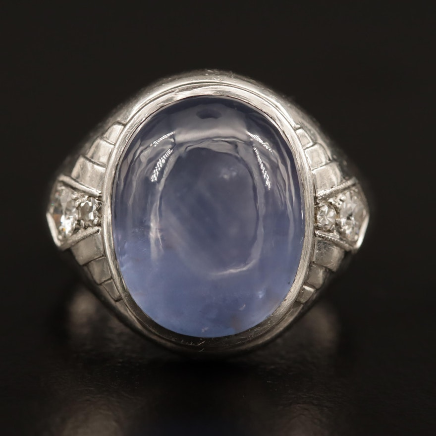 Vintage Platinum 13.75 CT Star Sapphire and Diamond Ring