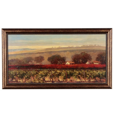 Matt Thomas Vineyard Landscape Oil Painting, Late 20th to Early 21st Century