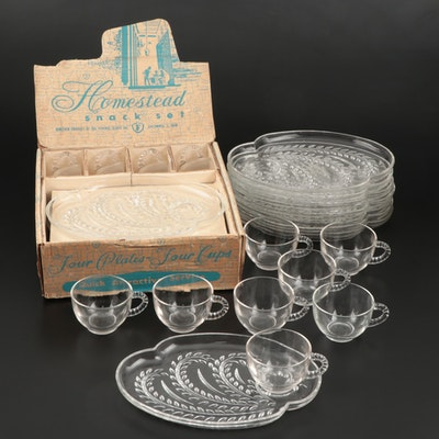 "Set of Twelve Federal Glass ""Homestead"" Snack Set, 1950s"