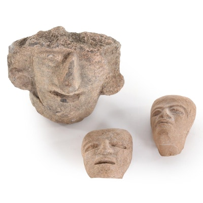 Zapotec Style Stone Bust Carvings, 20th Century