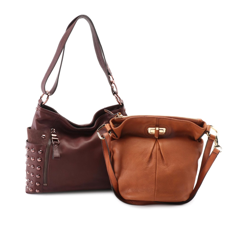 B. Makowsky Two-Way Grained Leather Shoulder Bags