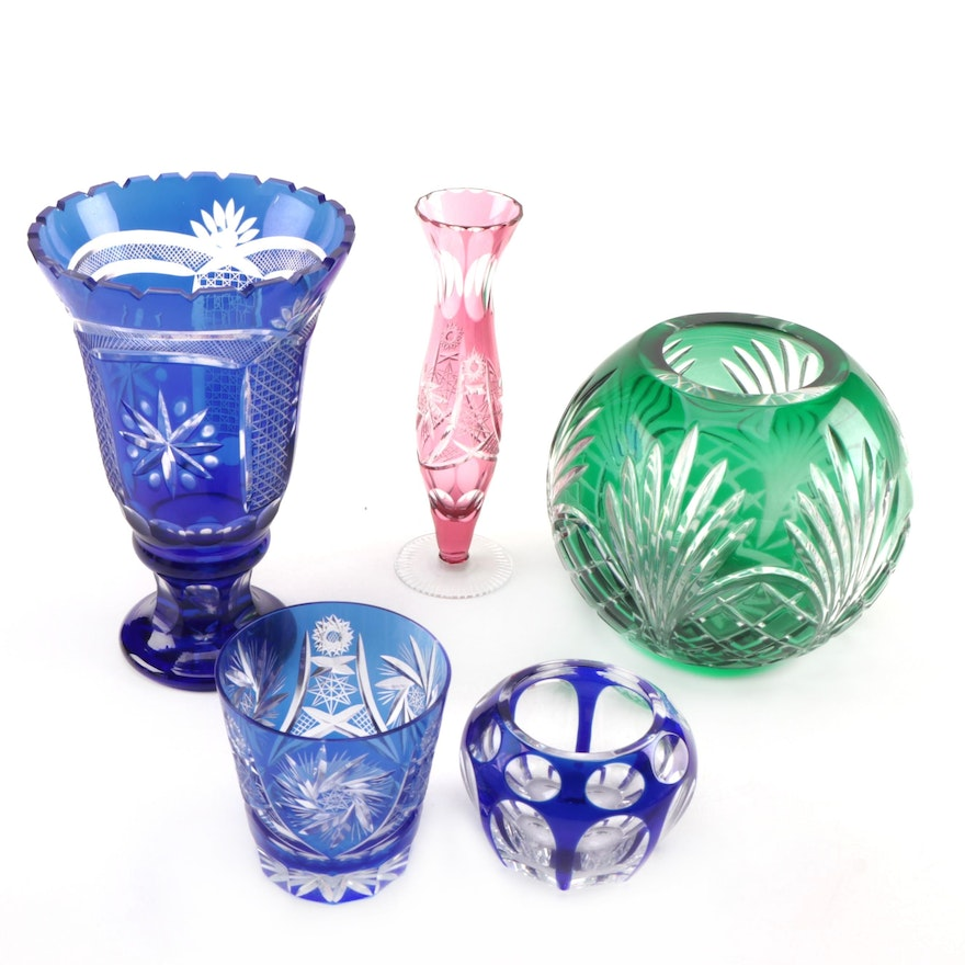 Bohemian Cut To Clear Glass Vases, Mid to Late 20th Century