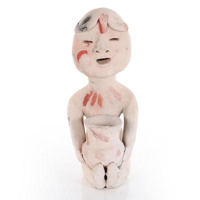 """Tesuque Pueblo Ceramic """"Rain God"""" Sculpture, 20th Century"""