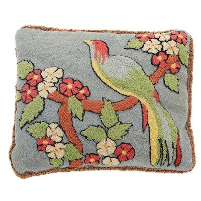 Hand-Hooked Bird and Flower Motif Throw Pillow, 1990s