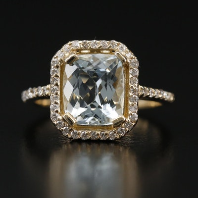14K Aquamarine and Diamond Halo Ring