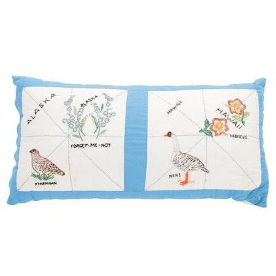 Hand-Embroidered Alaska and Hawaii State Bird and Flower Motif Throw Pillow