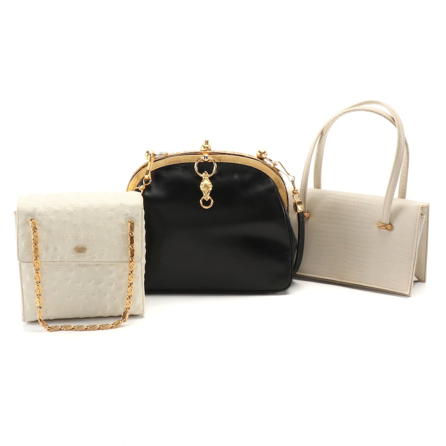 Harry Rosenfeld Leather Metalwork Clutch, La France and Supreme Leather Purses